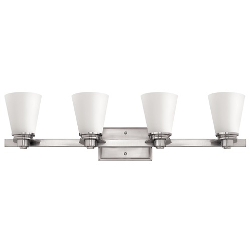 Hinkley Lighting Bathroom Light with White Glass in Brushed Nickel Finish 5554BN