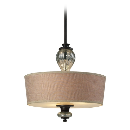 Elk Lighting Drum Pendant Light with Brown Shade in Vintage Rust Finish 15081/3