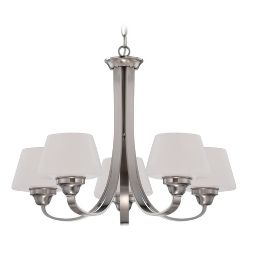 Nuvo Lighting Chandelier with White Glass in Brushed Nickel Finish 60/5225