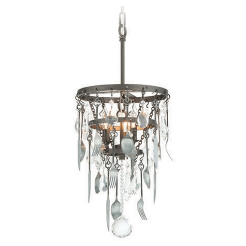 Troy Lighting Troy Lighting Bistro Graphite with Antique Pewter Flatware Pendant Light F3805