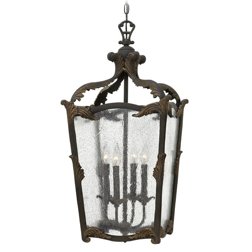 Hinkley Lighting Hinkley Lighting Sorrento Aged Iron Pendant Light with Triangle Shade 4525AI