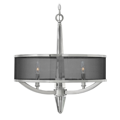 Hinkley Lighting Hinkley Lighting Ascher Polished Nickel Pendant Light with Cylindrical Shade 4753PN