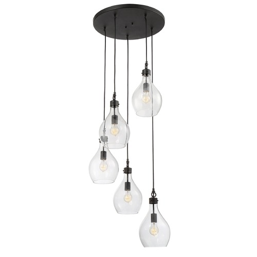 Savoy House Savoy House Lighting Pulaski Oiled Bronze Multi-Light Pendant with Bowl / Dome Shade 1-801-5-02