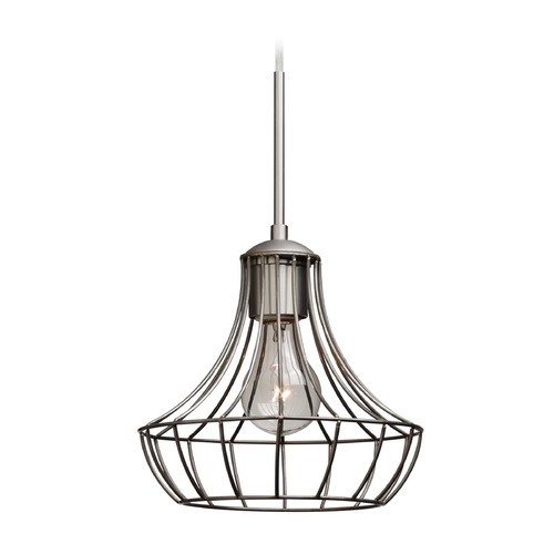 Besa Lighting Besa Lighting Spezza Satin Nickel Mini-Pendant Light with Urn Shade 1JT-SPEZ07-SN