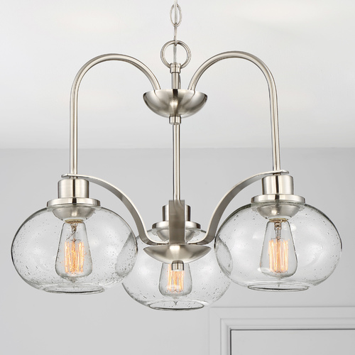 Quoizel Lighting Seeded Glass LED Chandelier Brushed Nickel Quoizel Lighting TRG5103BN