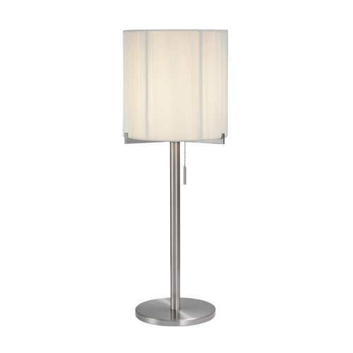 Sonneman Lighting Modern Table Lamp with White Shade in Satin Nickel Finish 3349.13