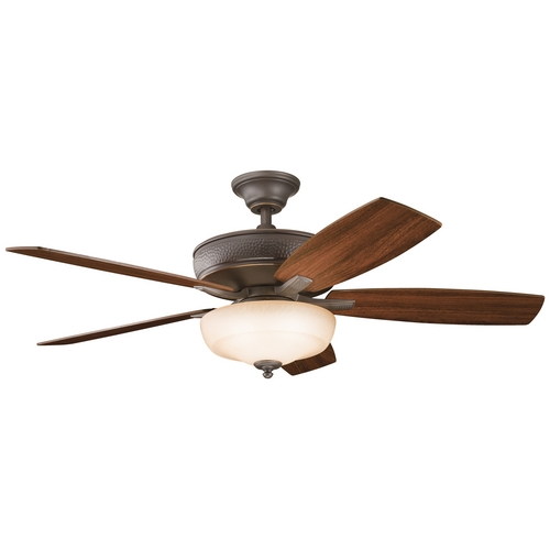 Kichler Lighting Kichler Ceiling Fan with Light with Brown Glass in Olde Bronze Finish 339213OZ