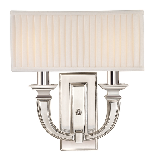 Hudson Valley Lighting Sconce Wall Light with White Shades in Polished Nickel Finish 542-PN