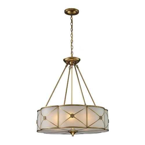 Elk Lighting Drum Pendant Light with White Glass in Brushed Brass Finish 22001/6