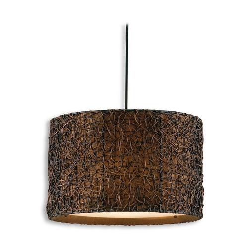Uttermost Lighting Drum Pendant Light with Brown Tones Shade in Hand Rubbed Espresso  21103