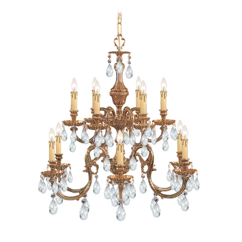Crystorama Lighting Crystal Chandelier in Olde Brass Finish 2912-OB-CL-SAQ