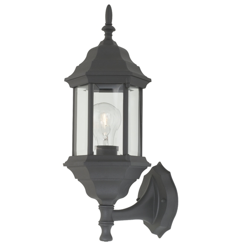 Design Classics Lighting Outdoor Wall Light with Six-Sided Glass Shade 9224 BK
