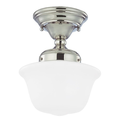Design Classics Lighting 8-Inch Nickel Schoolhouse Ceiling Light FAS-15 / GD8