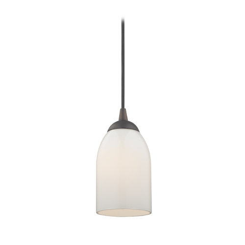 Design Classics Lighting Bronze Mini-Pendant Light with Opal White Glass 582-220 GL1024D