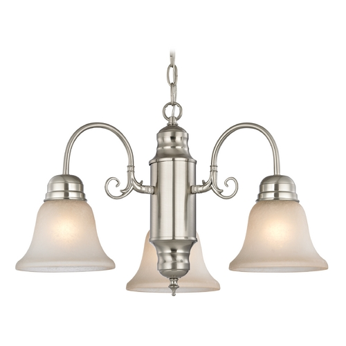 Design Classics Lighting Mini-Chandelier with Caramel Glass in Satin Nickel Finish 708-09 GL1032-CAR