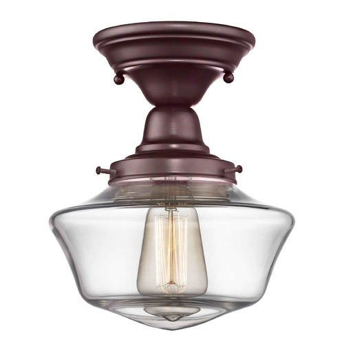 Design Classics Lighting 8-Inch Clear Glass Schoolhouse Ceiling Light in Bronze Finish FBS-220 / GA8-CL