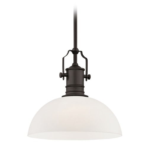 Design Classics Lighting Industrial Bronze Pendant Light with White Glass 13-Inch Wide 1765-220 G1785-WH
