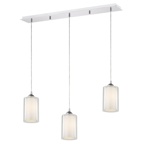 Design Classics Lighting 36-Inch Linear Pendant with 3-Lights in Chrome Finish with Clear Seeded / Frosted White Glass 5833-26 GL1061 GL1041C