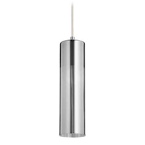 Quorum Lighting Quorum Lighting Chrome Mini-Pendant Light with Cylindrical Shade 837-1414