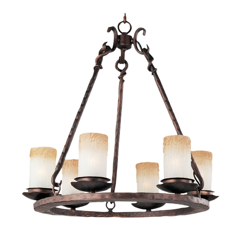 Maxim Lighting Chandelier with Beige / Cream Glass in Oil Rubbed Bronze Finish 10975WSOI