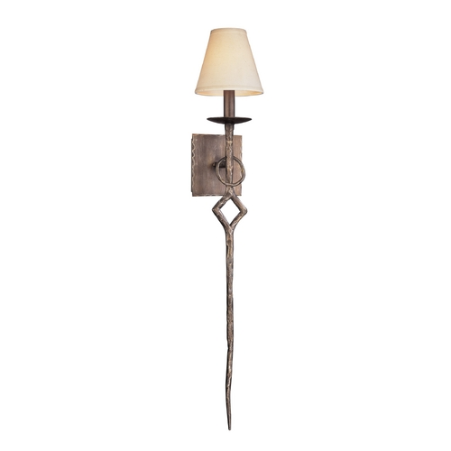 Troy Lighting Sconce Wall Light with Beige / Cream Shade in Pompeii Silver Finish B2672