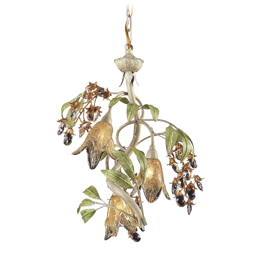 Elk Lighting Mini-Chandelier with Amber Glass in Seashell Finish 86051