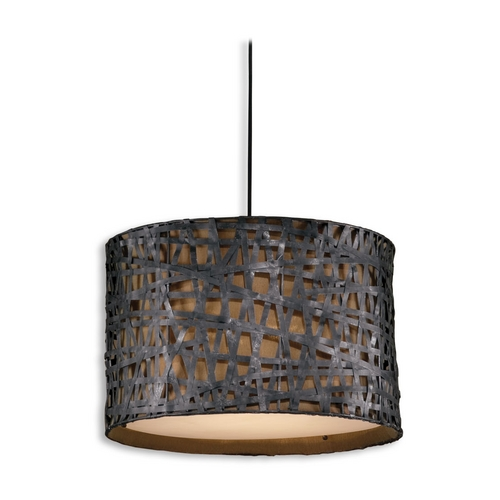 Uttermost Lighting Drum Pendant Light with Brown Shade in Aged Black Finish 21104
