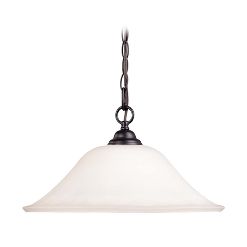 Nuvo Lighting Chain Hung Bronze Pendant Light with White Glass 60/1849