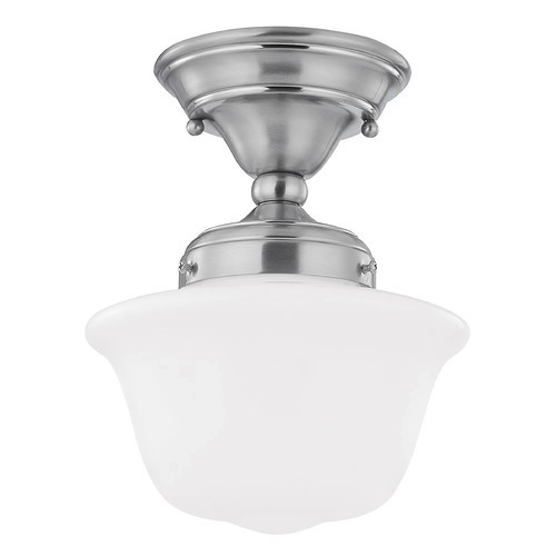 Design Classics Lighting 8-Inch Schoolhouse Ceiling Light with Opal White Glass FAS-09 / GD8