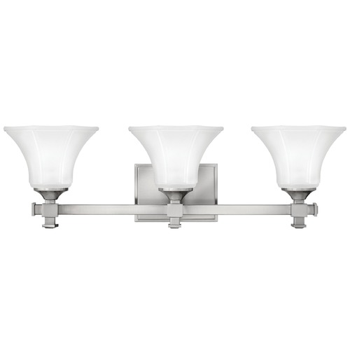 Hinkley Lighting Bathroom Light with White Glass in Brushed Nickel Finish 5853BN