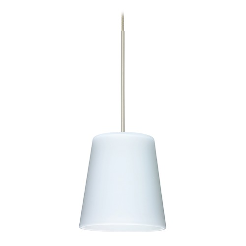 Besa Lighting Besa Lighting Canto Satin Nickel LED Mini-Pendant Light with Conical Shade 1XT-513107-LED-SN