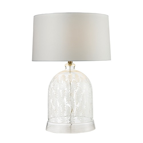 Dimond Lighting Dimond Lighting Clear, White Table Lamp with Drum Shade D2728