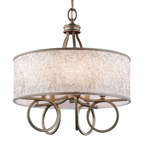 Feiss Lighting Feiss Lighting Parchment Park Burnished Silver Pendant Light with Drum Shade F3006/5BUS