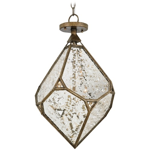 Currey and Company Lighting Currey and Company Lighting Glac Pyrite Bronze / Raj Mirror Pendant Light 9732
