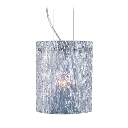 Besa Lighting Besa Lighting Tamburo Satin Nickel LED Mini-Pendant Light with Cylindrical Shade 1KG-400600-LED-SN
