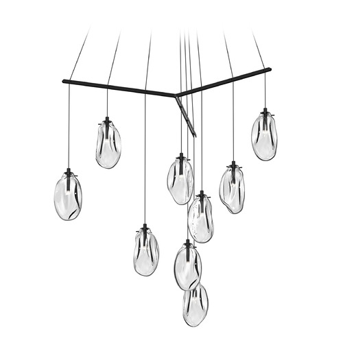 Sonneman Lighting Mid-Century Modern LED Multi-Light Pendant Black Liquid by Sonneman Lighting 2977.25C