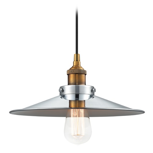Matteo Lighting Matteo Lighting Bulstrode?s Workshop Warm Gold / Chrome Pendant Light with Coolie Shade C46112WGCH
