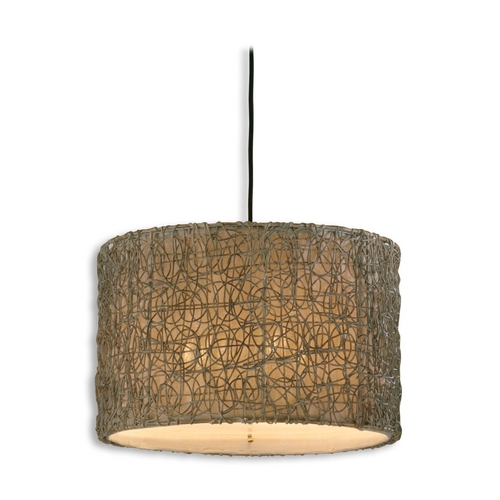 Uttermost Lighting Drum Pendant Lights in Hand Rubbed Ivory Finish 21105