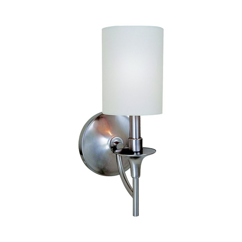 Sea Gull Lighting Modern Sconce Wall Light with White Shade in Brushed Nickel Finish 41260-962