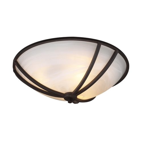 PLC Lighting Modern Flushmount Light with White Glass in Oil Rubbed Bronze Finish 14863 ORB