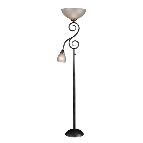 Kenroy Home Lighting Torchiere Lamp with Amber Glass in Smoke Bronze Finish 32259SMB