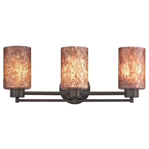 Design Classics Lighting Modern Bathroom Light with Brown Art Glass in Bronze Finish 703-220 GL1016C