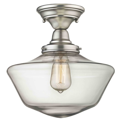 Design Classics Lighting 12-Inch Satin Nickel Clear Glass Schoolhouse Semi-Flushmount Light FBS-09 / GA12-CL
