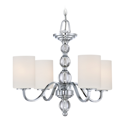 Quoizel Lighting Modern Chandelier with White Glass in Polished Chrome Finish DW5004C