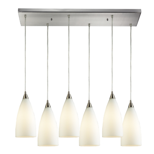 Elk Lighting Modern Multi-Light Pendant Light with White Glass and 6-Lights 2580/6RC