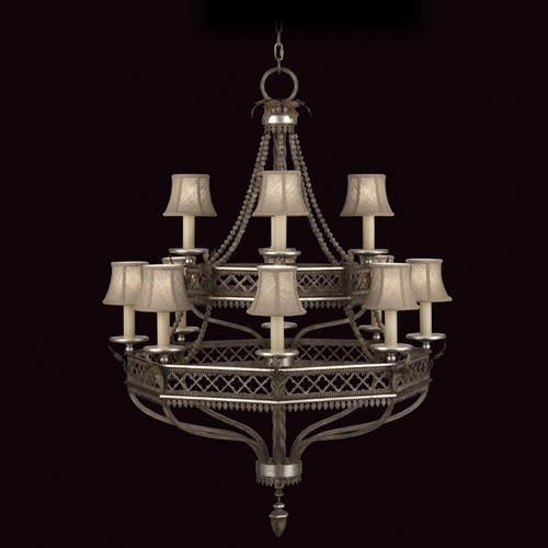 Fine Art Lamps Fine Art Lamps Villa Vista Hand Painted Driftwood with Silver Leafed Accents Chandelier 807240ST