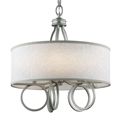 Feiss Lighting Feiss Lighting Parchment Park Dark Silver Pendant Light with Drum Shade F3006/5SL