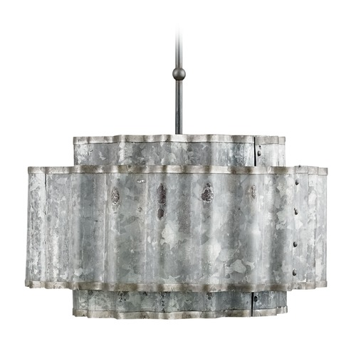 Currey and Company Lighting Currey and Company Lighting Lone Old Iron / Galvanized Pendant Light with Drum Shade 9735