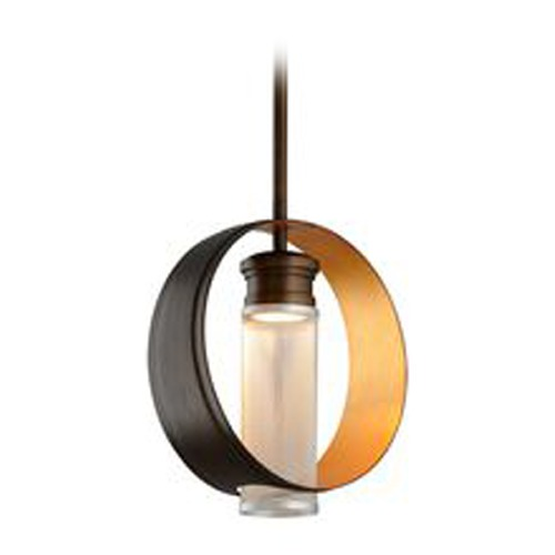 Troy Lighting Troy Lighting Insight Modern Bronze with Gold Leaf LED Pendant Light with Cylindrical Shade FL4896