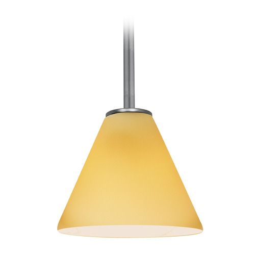 Access Lighting Access Lighting Martini Brushed Steel LED Mini-Pendant Light with Conical Shade 28004-4R-BS/AMB